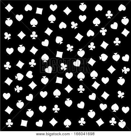 The seamless pattern made out of casino symbols / Heart diamond spade and clubs background / The casino symbols background