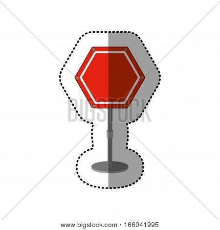 dotted sticker hexagon road sign red vector illustration