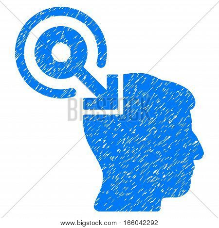 Brain Interface Plug-In grainy textured icon for overlay watermark stamps. Flat symbol with dirty texture. Dotted vector blue ink rubber seal stamp with grunge design on a white background.