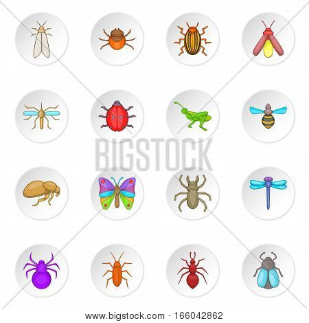 Insects icons set. Cartoon illustration of 16 insects vector icons for web