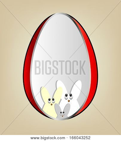 Design Easter eggs with a red border, inside the silhouettes of the bunnies, there is a place for text