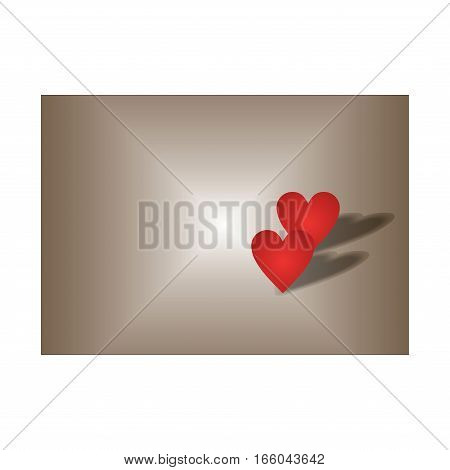 two red hearts on dark background for greeting card