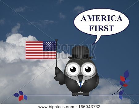 America First presidential inauguration pledge against a blue cloudy sky