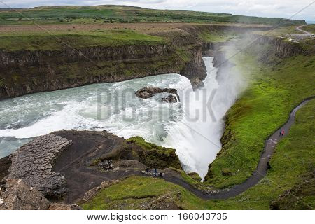 powerful waterfalls Gulfoss inc Iceland part of Golden Circle