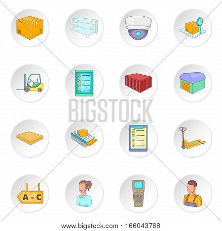 Warehouse store icons set. Cartoon illustration of 16 warehouse store vector icons for web