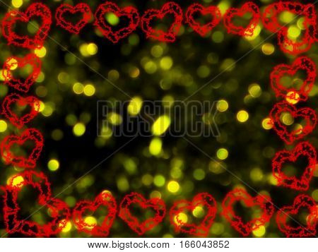 beautiful frame of hearts on a yellow background