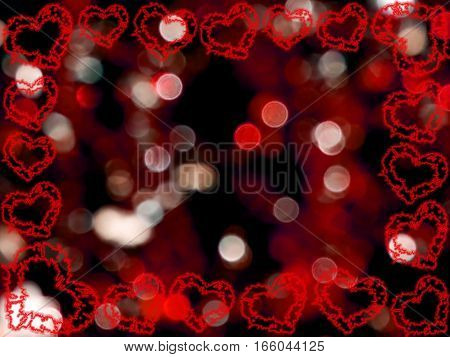 beautiful frame of hearts on a red background