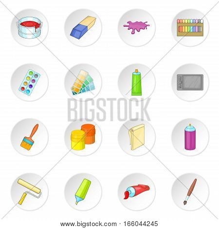 Painter tools icons set. Cartoon illustration of 16 Painter tools vector icons for web