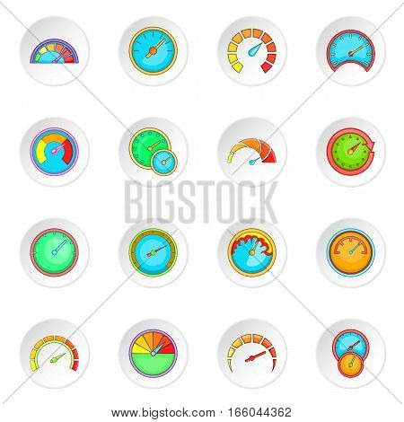 Speedometer icons set. Cartoon illustration of 16 speedometer vector icons for web