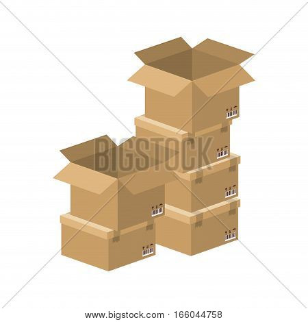 multiple boxes stacked and opened vector illustration