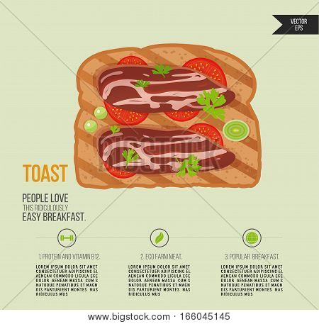 Vector toast bread isolated. Sandwich with bacon and herbs. Quick breakfast icon. Print of food product infographic.