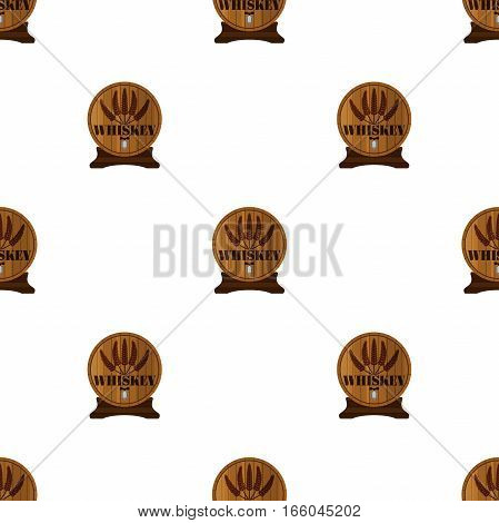 Whiskey seamless pattern in flat style. Barrels with whiskey alcohol liquor.