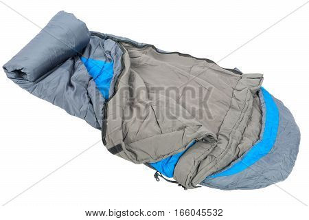 Close-up Of A Sleeping Bag Is Very Warm For Sleeping Outdoors Isolated