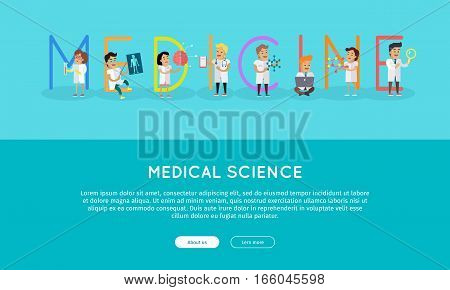 Medicine banner. Science alphabet. ABC vector with scientists at work. Simple colored letters and scientist character. Scientific research, medical lab, medical test, technology illustration in flat