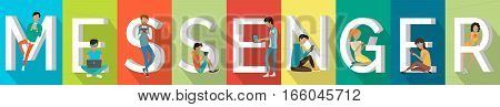 Messenger banner. People with gadgets standing and sitting near letters. Modern youth with electronic gadgets. Social media network connection, messenger communication, internet chat, mobile service