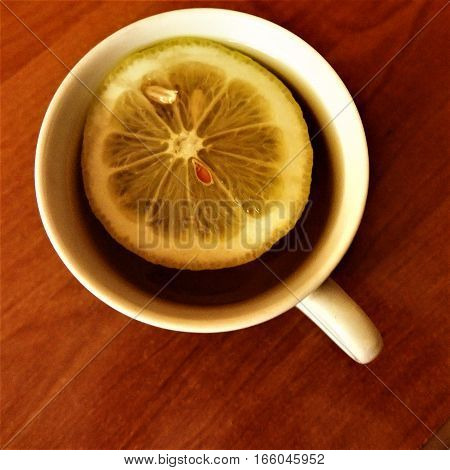 Yerba mate with lemon on the white cup
