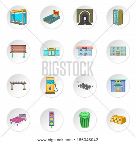 City infrastructure icons set. Cartoon illustration of 16 city infrastructure vector icons for web