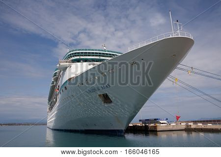 KATAKOLON, GREECE - MAY 19, 2016: A cruise ship docks at the port which is the gateway to Olympia.