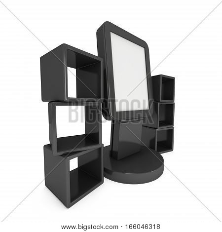 LCD Display Stand and product display boxes. Black Trade Show Booth. 3d render isolated on white background. High Resolution image. Ad template for your expo design.