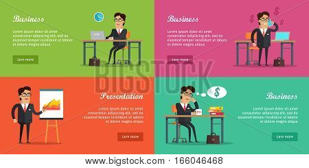 Business baners set. Young businessman in black business suit and tie sitting in her office and thinking about money. Business presentation. Businessman talking on phone. Good earnings profit concept.