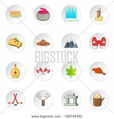 Canada icons set. Cartoon illustration of 16 Canada travel items vector icons for web