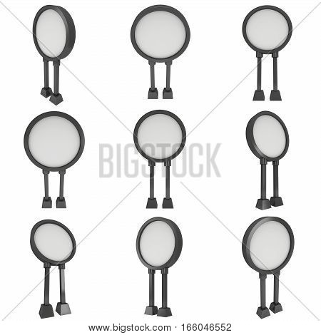 Billboard blank for outdoor advertising poster set. Trade show booth. 3d render isolated on white background