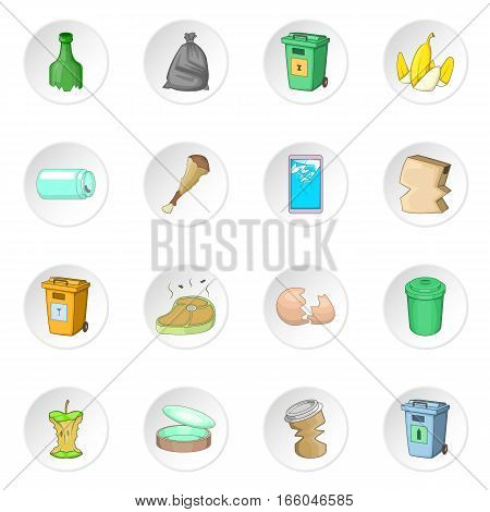 Garbage items icons set. Cartoon illustration of 16 garbage items vector icons for web