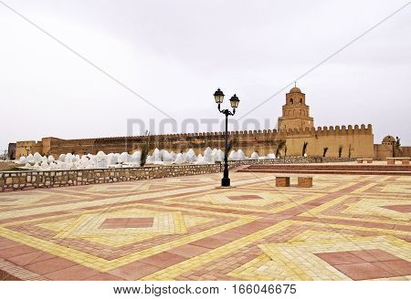 Walls and cemetery of the Great Mosque of Kairouan, Tunisia