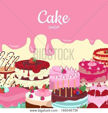 Cake shop. Set of decorated cakes with colored frosting, fruits and chocolate. Vector in flat style. Confectionery. Dessert. For pastry shop ad, birthday or wedding greeting cards design, diet concept