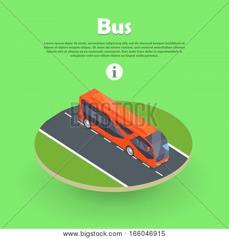 Isometric bus on part of road web banner. Public transportation bus icon. Isolated isometric bus. Scheduled bus transport, scheduled coach transport, school transport. Modern 3d tour bus. Vector