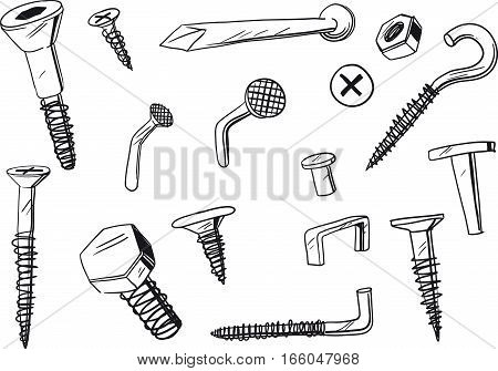 set of of various, doodle drawn fasteners
