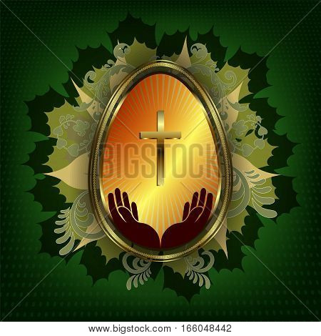 dark green design Easter eggs with a gold border, with a cross and hands