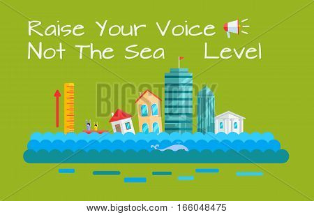 Global warming and sea level increase vector. Flat design. City with humans drowning by sea level rise. Environment protection, climate changes, ecological problems, natural disaster illustrating.