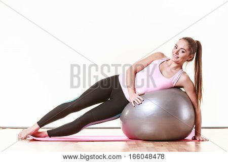 Girl Exercising With Fit Ball