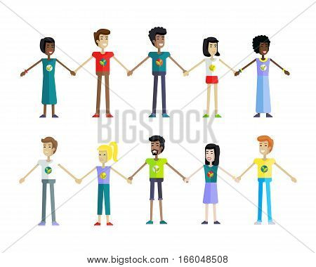 Happy people in a row holding hands on white background. Men and women in a row holding hands. People from various ethnic group. Isolated object on white background. Vector illustration.