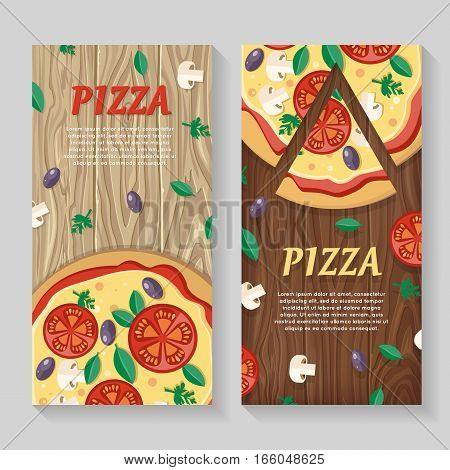 Pizza with tomatoes, olives, mushrooms and herbs in flat style isolated. Traditional italian pizza with vegetables. Illustration for pizzeria, restaurant ad, logo design, delivery service. Vector