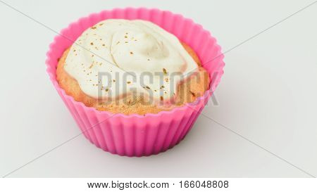 Cupcake home on a white background closeup