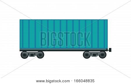 Blue railroad container in flat. Freight car transportation train cargo and railroad freight car wagon industry. Empty cargo wagon. Freight car icon. Logistics and transportation of cargo.