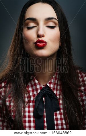 Sweet girl kisses. Valentine day Love is