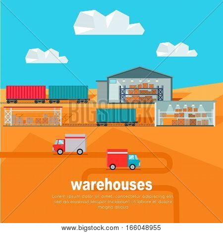 Warehouses in the dessert. Warehouse worldwide design flat. Logistics container shipping and distribution. Transportation in the desert. Loading and unloading boxes. Vector illustration