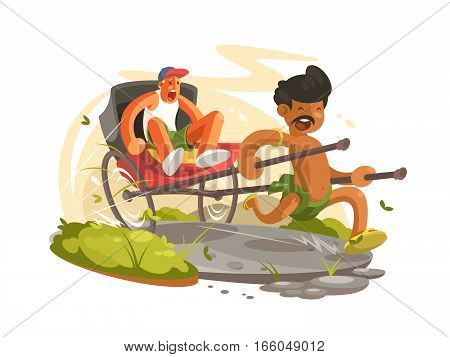 Running man with rickshaw. Two-wheeled carts to transport people. Vector illustration