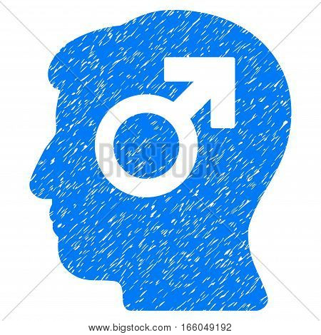 Mind Potency grainy textured icon for overlay watermark stamps. Flat symbol with dust texture. Dotted vector blue ink rubber seal stamp with grunge design on a white background.