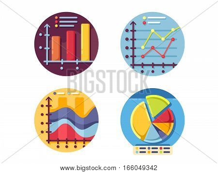 Graphs and diagrams icons set. Business finance data statistics. Vector illustration. Pixel perfect icons size - 128 px