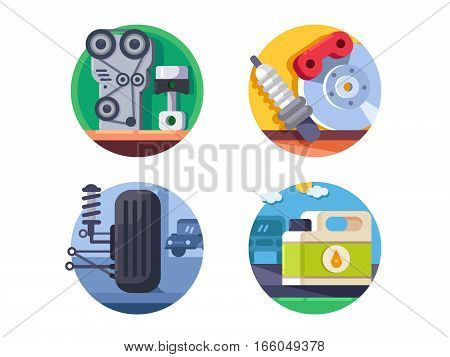 Spare parts set. Brake pads and engine. Vector illustration. Pixel perfect icons size - 128 px