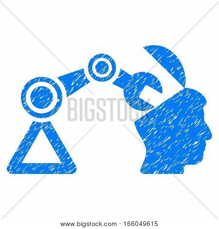 Open Head Surgery Manipulator grainy textured icon for overlay watermark stamps. Flat symbol with scratched texture. Dotted vector blue ink rubber seal stamp with grunge design on a white background.