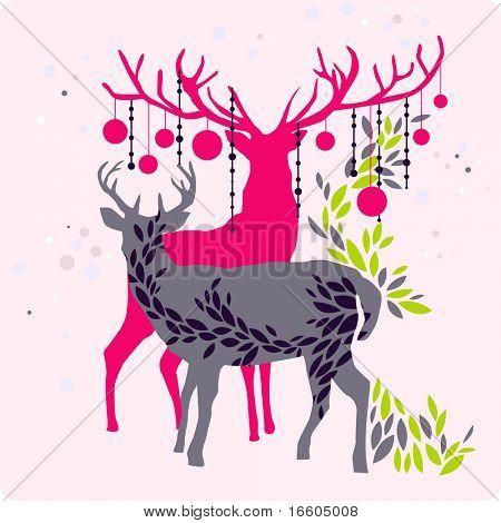 colorful christmas reindeer