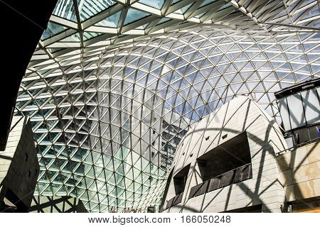 Poland - Warsaw - 08.05.2015 - Warsaw Poland the Shopping mall a modern construction roof inside shape structure 2