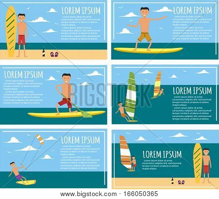 Male surfer character riding on waves in sea. Vector illustration in flat design. Summer vacation flyer set