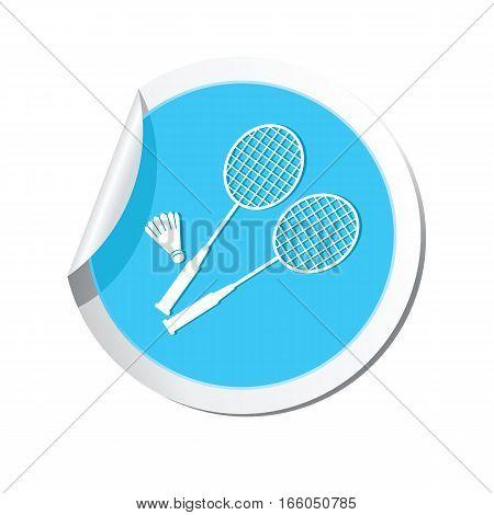 Badminton symbol icon on the sticker. Vector illustration