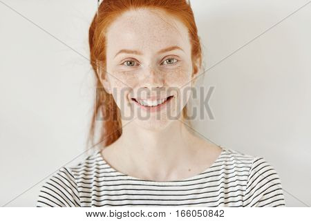 Close Up Highly-detailed Portrait Of Happy And Cheerful Caucasian Female Student With Cute Smile, Gi